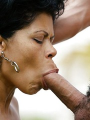 Nude ebony granny eats big white cock