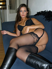 Beauty in black stockings, cute girl..