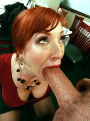 Redhead mom with short hair and big..