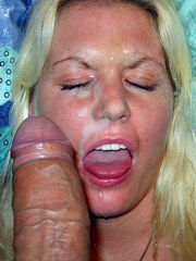 Blonde mature milf huge facial cumshot..
