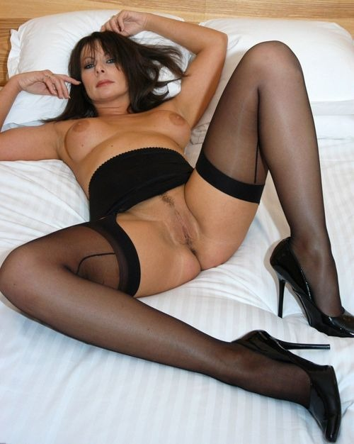 Perfect for fuck woman lies just in stockings - Hot Mature Girlfriends