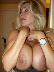 She squeezes her big boobs and want..