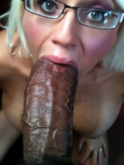 Blonde wife try to take huge fat black..